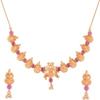 Ganapathy Gems 1gram Gold Plated Traditional Copper Jewel Set Pink