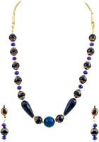 The Art Jewellery Graceful Ethnic Blue Brass Jewel Set Blue