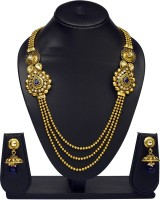 VK Jewels Blue Beads Traditional Gold Plated Necklace With Earrings Brass Jewel Set Gold