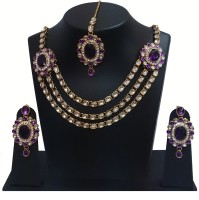 Akshada Creation Gold Antique Finish Alloy Jewel Set Purple