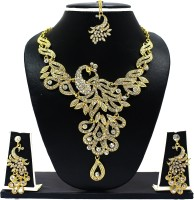 Zaveri Pearls Glitter Glamour Peacock Necklace Zinc Jewel Set Gold