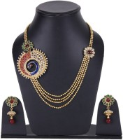 Shining Diva Gold Plated Mayur Multi Strings Matar Mala Style Alloy Jewel Set Multicolor