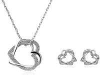 Crunchy Fashion Heart In Heart Alloy Jewel Set Silver