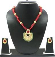 Zaveri Pearls Designer Pendant Zinc Jewel Set Red