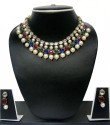 Zaveri Pearls CLASSIC PEARL NECKLACE SET Alloy Jewel Set - White, Pink, Green, Blue