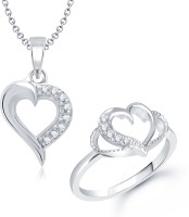 VK Jewels VK Jewels Curved Heart Shape Combo Ring & Pendant Alloy Jewel Set Silver