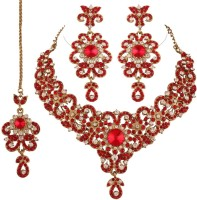 I Jewels Austrian Diamond Zinc Jewel Set (Red)