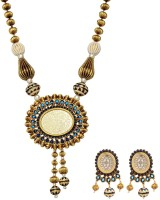 Fabroop Antique Gold Toned Designer Alloy Jewel Set Blue