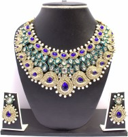 Zaveri Pearls Blue Stone Necklace Set Zinc Jewel Set Blue