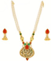 Zaveri Pearls Enamelling Traditional Alloy Jewel Set Green, Red, White