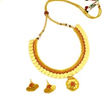 OYE KUDIYE Super Lovely Flower Ruby Beads Necklace Brass, Copper Jewel Set (Red)