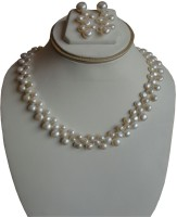 Sri Bansilal Pearls White Pearls Patta Mother Of Pearl Jewel Set White