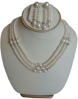 Sri Bansilal Pearls 3 Line Pearls Mother Of Pearl Jewel Set White