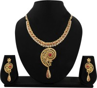 Zaveri Pearls Exotic Antique Necklace Alloy Jewel Set (Gold, Red)