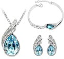 Cyan Ocean Blue Austrian Crystal Necklace Set Combo With Crystal Earrings And Charming Crystal Bracelet Alloy Jewel Set - Blue
