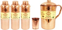 IndianArtVilla Copper Set Of 1 Water Jug With 3 Water Bottles & 1 Glass Tumbler Cup - Storage Water Home Hotel Restaurant Water Jug (4.3 L, Pack Of 5)