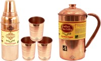 IndianArtVilla Set Of 1 Copper Jug Pitcher With 3 Copper Glass Tumbler & 1 Thermos Design Copper Water Bottle - Home Hotel Restaurant Tableware Water Jug (2.9 L, Pack Of 5)