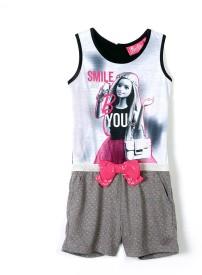 Barbie Graphic Print Girl's Jumpsuit