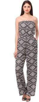 Eyelet Geometric Print Women's Jumpsuit