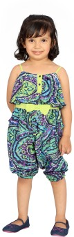 Fuschia Tribe Paisley, Printed, Woven Girl's Jumpsuit