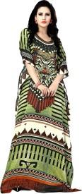 Justkartit Printed, Floral Print Satin Silk Women's Kaftan
