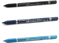 Bonjour Paris Single Apply 1507201609 Black-Party Blue-Sky Blue Kajal 3.6 G (Black, Party Blue, Sky Blue)