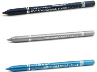Bonjour Paris Single Apply 1507201673 Navy Blue-Silver-Sky Blue Kajal 3.6 G (Navy Blue, Silver, Sky Blue)