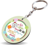 SKY TRENDS No. # 1 Brother In Hand Two Rakhi Shade Color Smile Face Gifts Happy Rakshabhadhan Wood Circle Key Chain