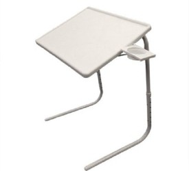 Tuzech White Adjustable Folding Laptop Plastic Study Table