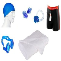 Kyachaiyea Swimming Kit (Silicon Cap, Silicon Ear Plug, Swimming Nose Clip, Swimming Goggles With 100% Pure Cotton Towel Normal Size , Authentic Men Adult Swim Trunks Boxer Nylon) Swimming Kit