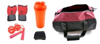 Sports 101 Jump Rope, Gloves, Wrist Wrap And Shaker Bottle With Duffel Bag Gym & Fitness Kit