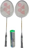 Yonex Mavis 300 ( Pack Of 6) White Nylon Shuttle Cock And GR 303 (pack Of 2) Badminton Kit