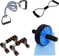 Mor Sporting Combo Of Grey Double Toning Tube, 8 Shapped Yoga Latex Tube, Anti Slip Foldable Push Up Bar And Ab Wheel Max Gym & Fitness Kit