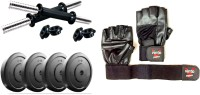 Vinto PVC 1 Kg Each 4 Pcs Weight Plates, 2 Dumbbell Rods With Pure Leather Gloves Gym & Fitness Kit