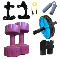 Krazy Fitness Exercise Combo With 2 Pc 1 Kg PVC Dumbells Gym & Fitness Kit