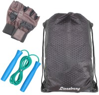 Livestrong Fitness Combo Of String Bag Black + Skipping Rope+ Weight Lifting Gym Gloves Gym & Fitness Kit