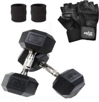 Krazy Fitness Hexagonal Dumbbell Pair (2.5 Kg Each) With Gym Gloves & Sweat Bands Gym & Fitness Kit