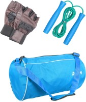 LIVESTRONG FITNESS COMBO OF GYM BAG LIGHT BLUE + SKIPPING ROPE+ WEIGHT LIFTING GYM GLOVES Gym & Fitness Kit