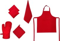 Adt Saral Red Cotton Kitchen Linen Set Pack Of 6
