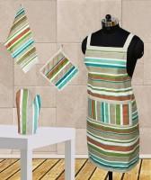 Dekor World Green Stripe Apron Combo Kitchen Linen Set (Pack Of 4)