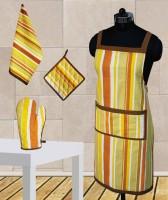 Dekor World Yellow Stripe Apron Combo Kitchen Linen Set (Pack Of 4)