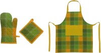 Cotonex Checkered Cotton Kitchen Linen Set Green, Yellow, Pack Of 3