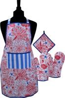 Misona World Red, Blue Cotton Kitchen Linen Set Pack Of 4