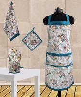 Dekor World Elegant Floral Printed Apron Kitchen Linen Set (Pack Of 4)