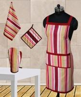 Dekor World Maroon Stripe Apron Combo Kitchen Linen Set (Pack Of 4)