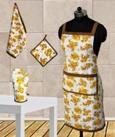 Dekor World Yellow Floral Apron Combo Kitchen Linen Set (Pack Of 4)