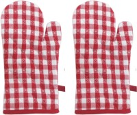 Cotonex Red, White Cotton Kitchen Linen Set Pack Of 2