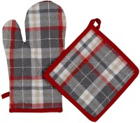 Cotonex Red, Grey Cotton Kitchen Linen Set Pack Of 2 - KLSED68MXNGYZMVF