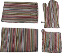 Belle Maison Striped Cotton Kitchen Linen Set Multicolor, Pack Of 4