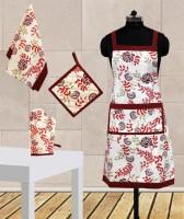 Dekor World Maroon Cotton Kitchen Linen Set Pack Of 4